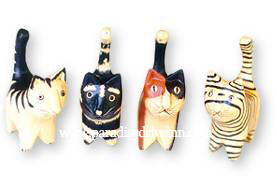 Bali Set of 4 Wooden Cats
