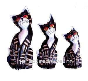 Bali Set of 3 Wooden Cats