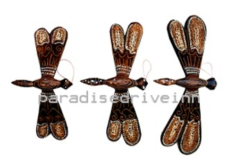 Bali Set of 3 Wooden Dragonfly