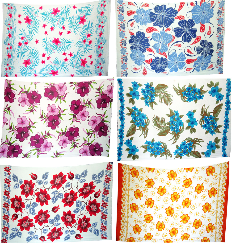 Bali Assortment of 50 2nd quality sarongs - Hawaian flower print