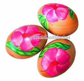 Bali Egg Shaker  polished wood with hand painted flowers