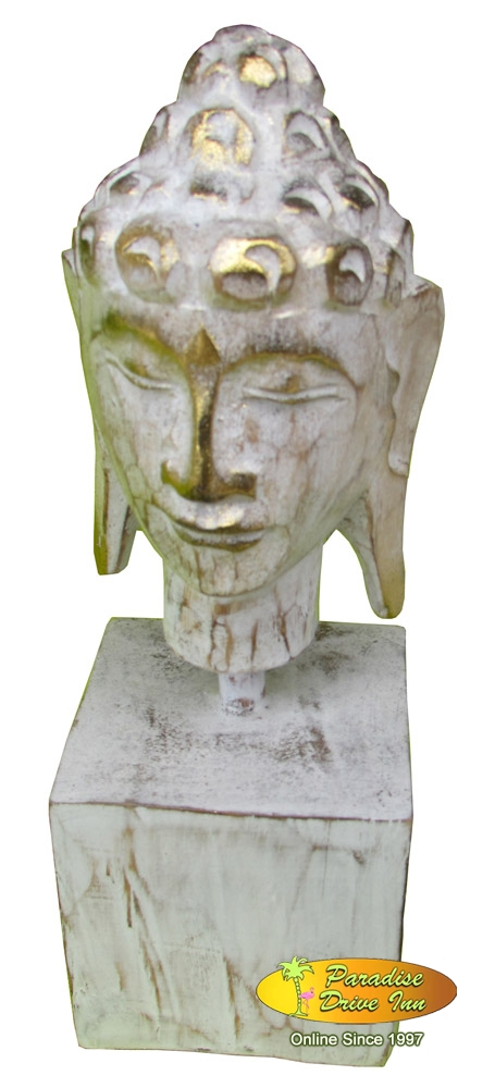 Bali Woodcarving buddha head with stand