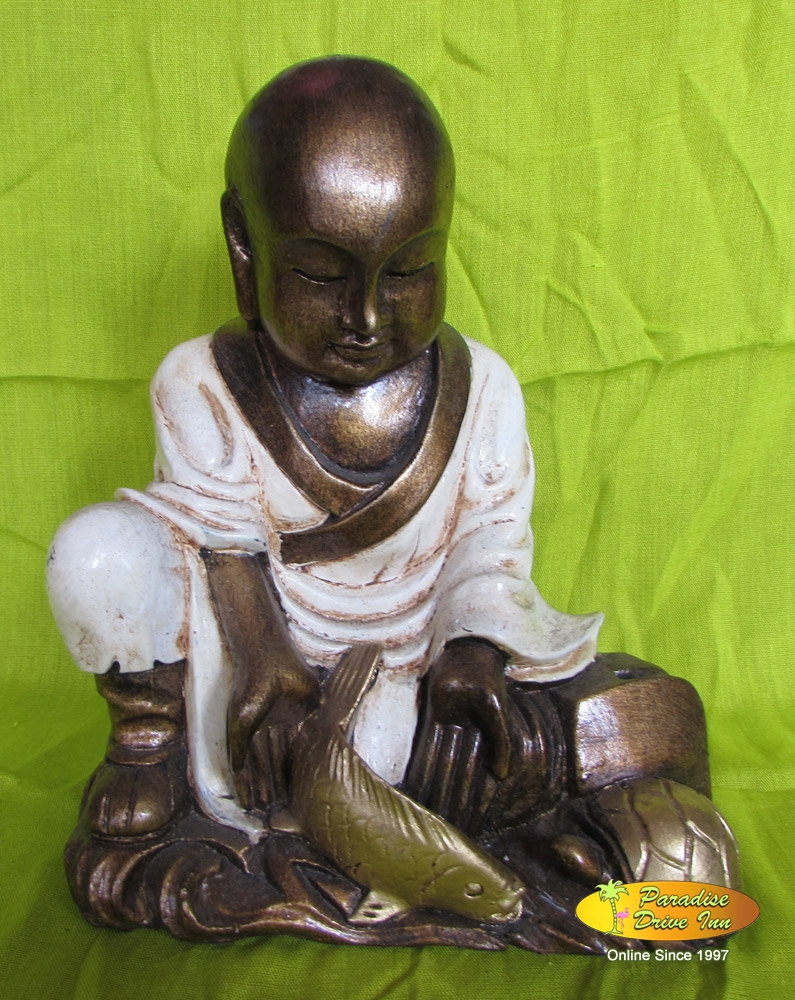 Bali Sitting buddha with fish, resin