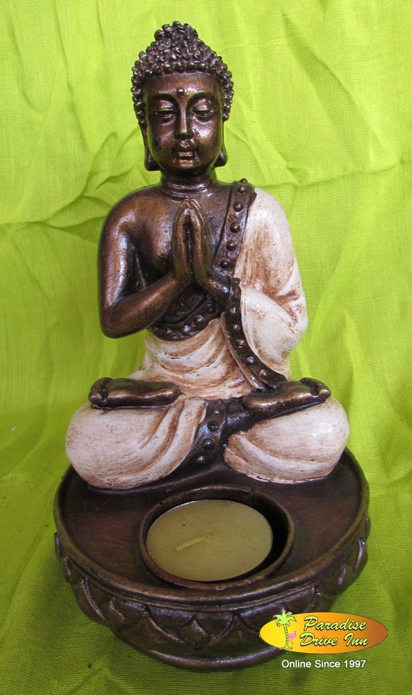 Bali Candle holder buddha sitting, resin