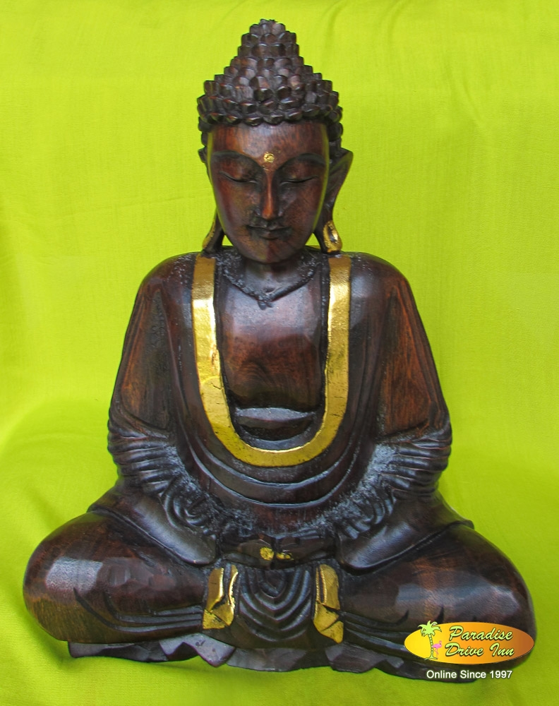 Bali Wood carving, buddha sitting, soar wood