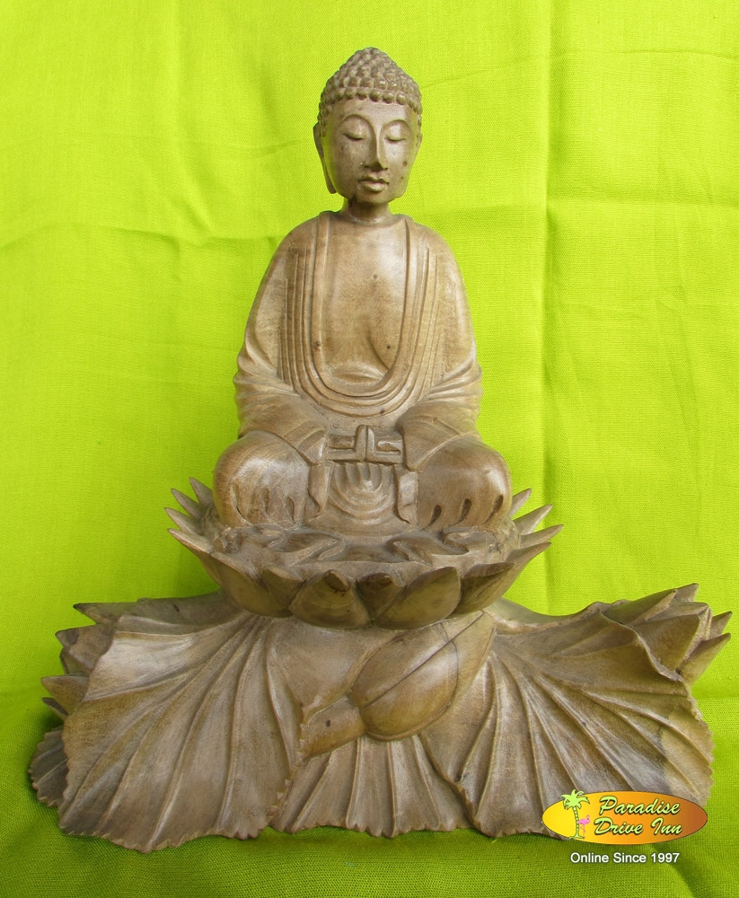 Bali Wood carving, buddha sitting on lotus, crocodile wood