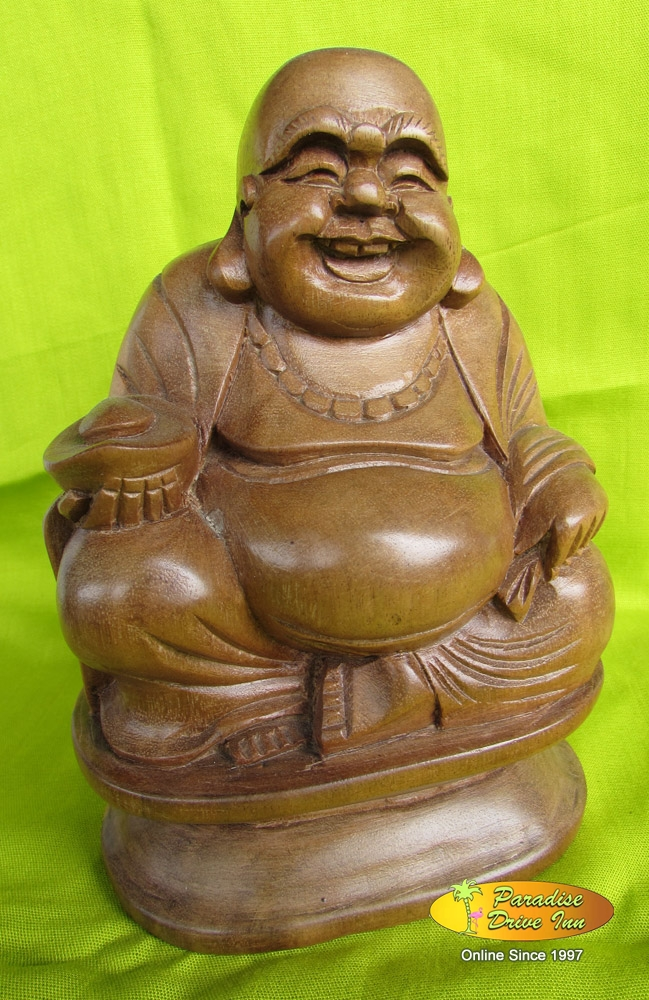 Bali Woodcarving, happy buddha, soar wood