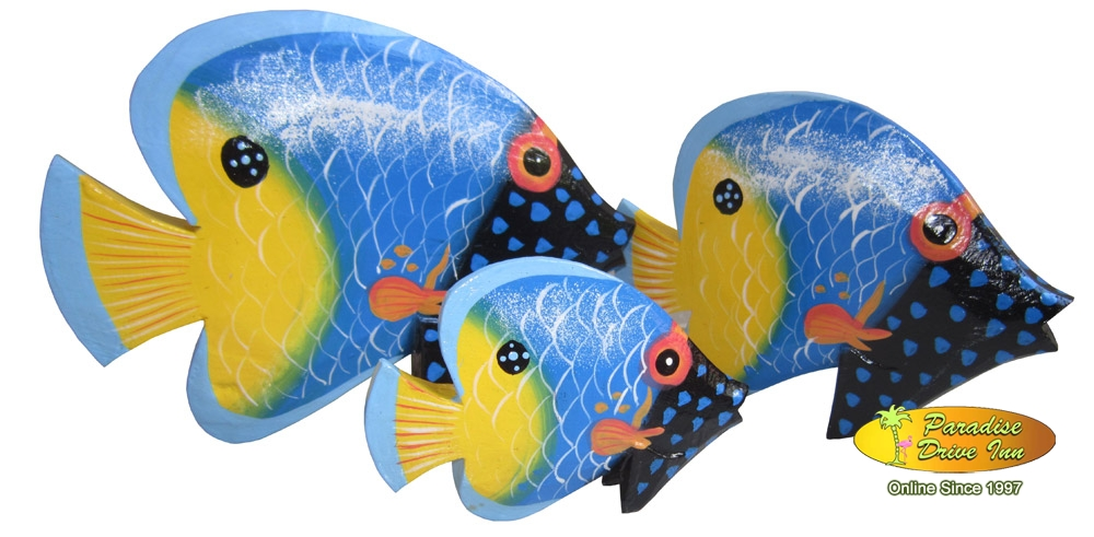 Bali Set of 3 tropical fish, handpainting