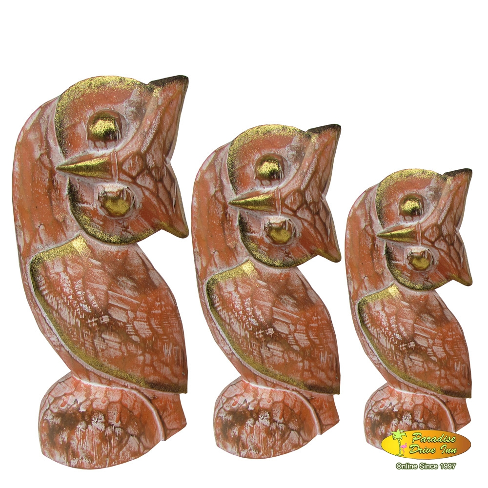 Bali Set of 3 wooden owl, handcarved & painting