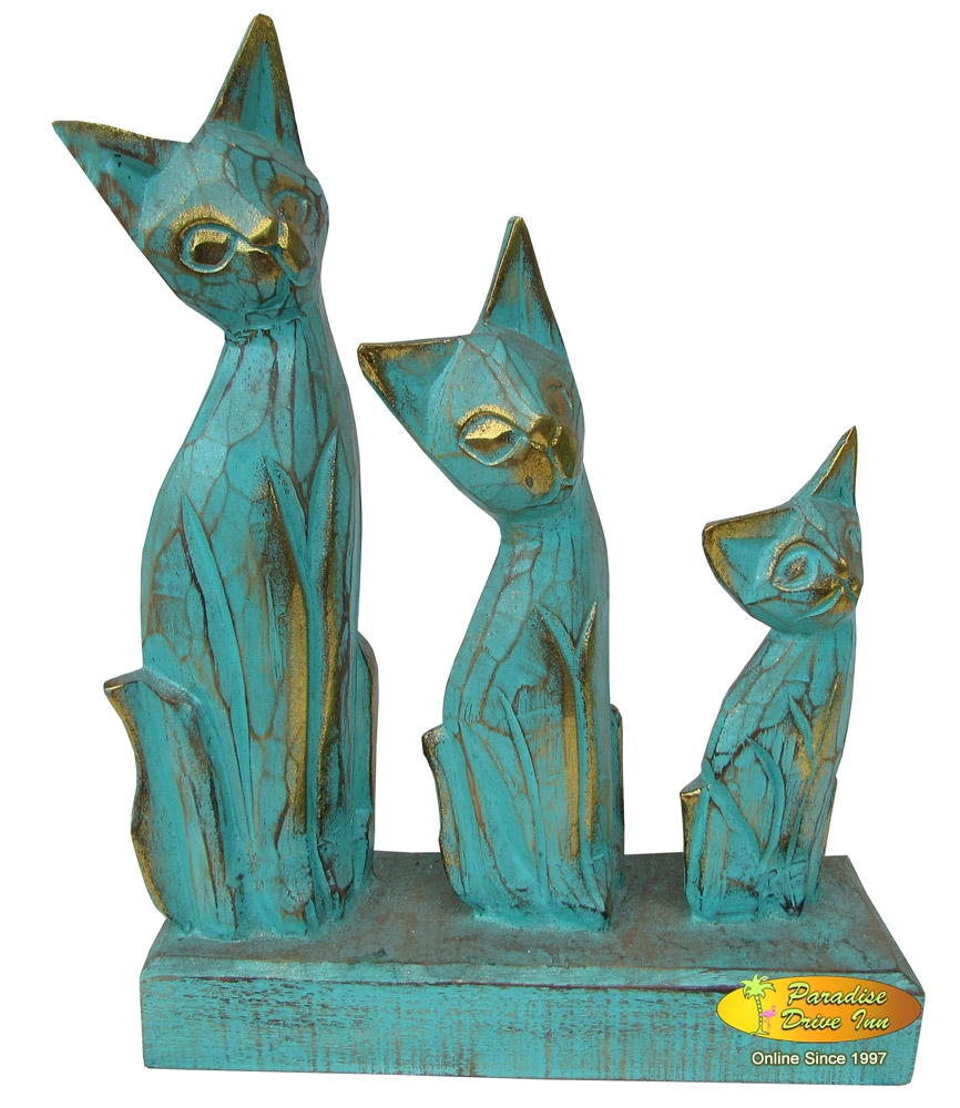 Bali Set of 3 wooden cats, handcarved & painting