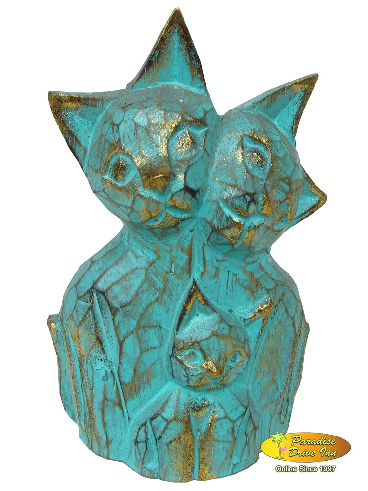 Bali Wooden cat, handcarved & painting