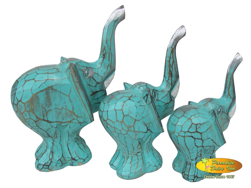 Bali Set of 3 wooden elephant, handcarved & painting