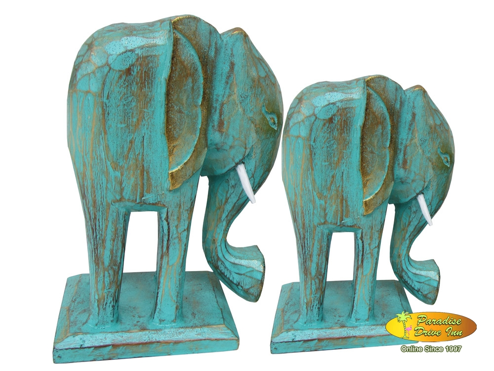 Bali Set of 2 wooden elephant, handcarved & painting