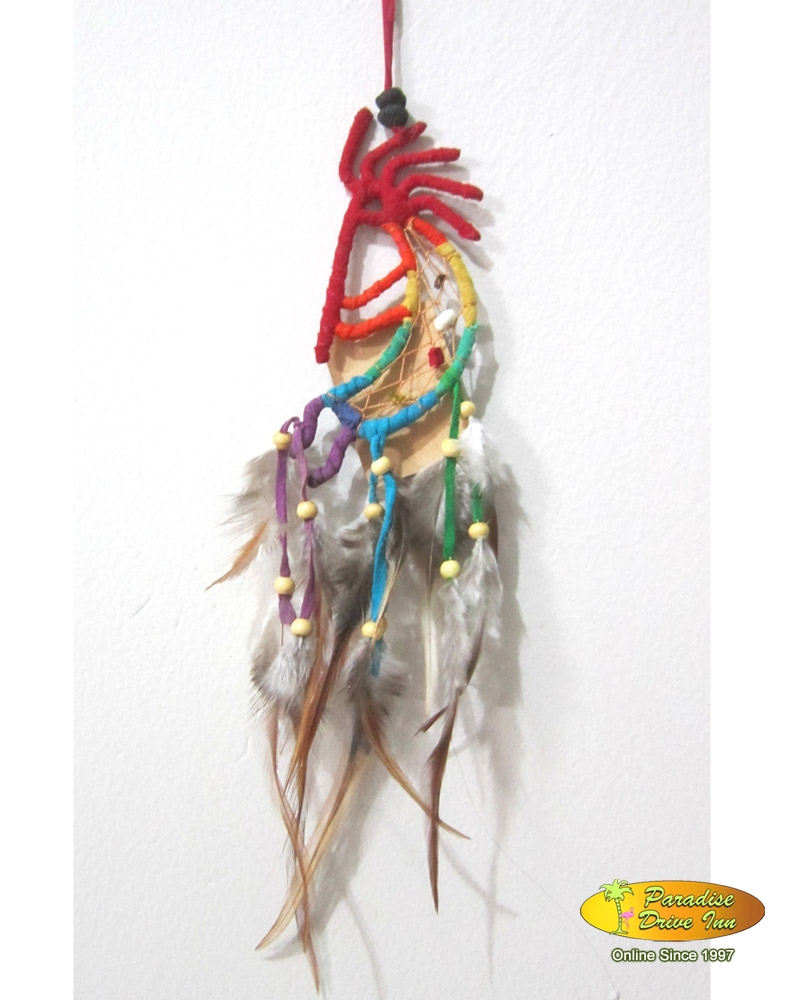 Bali Dreamcatcher, suede leather, semiprecious stone, beads