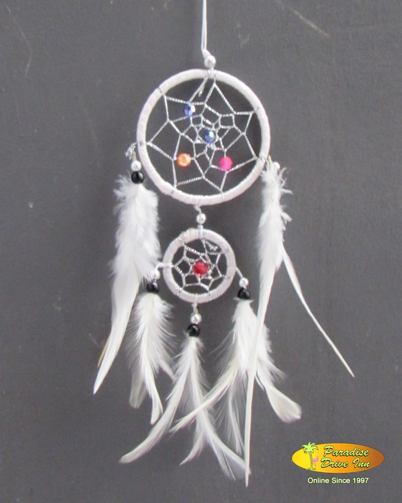 Bali Dreamcatcher, nylon string, silver thread & beads