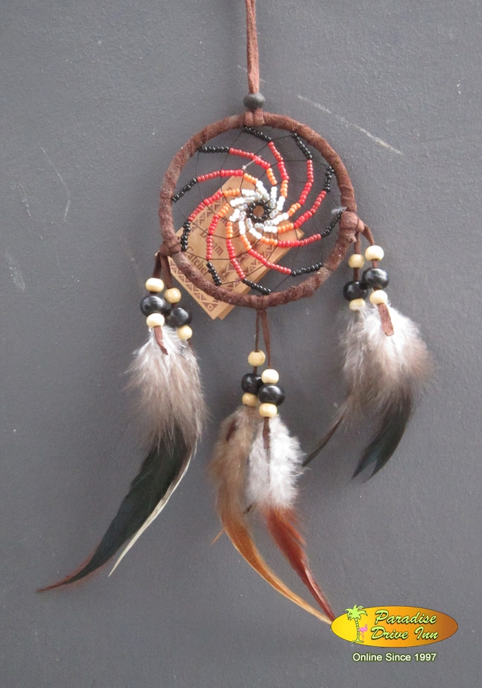 Bali Dreamcatcher, suede leather, glass beads & wooden beads