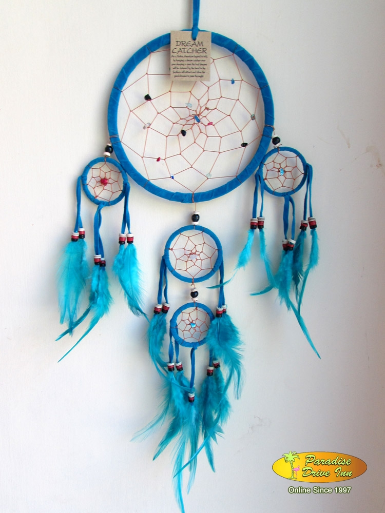 Bali Dreamcatcher, suede leather, beads, stone