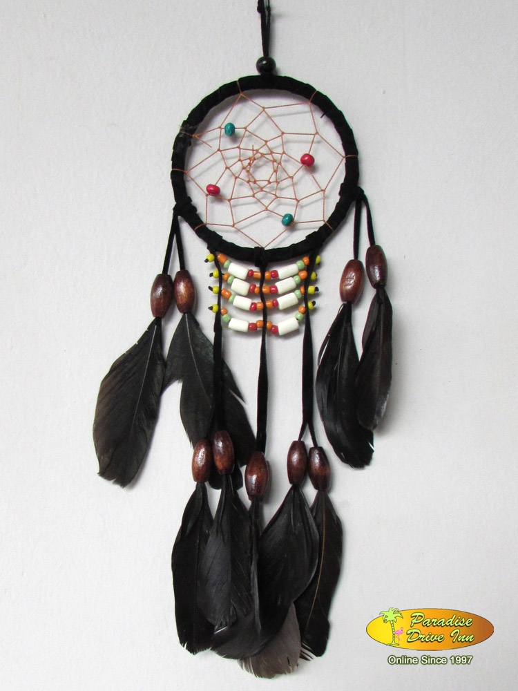 Bali Dreamcatcher, suede leather, beads, bone