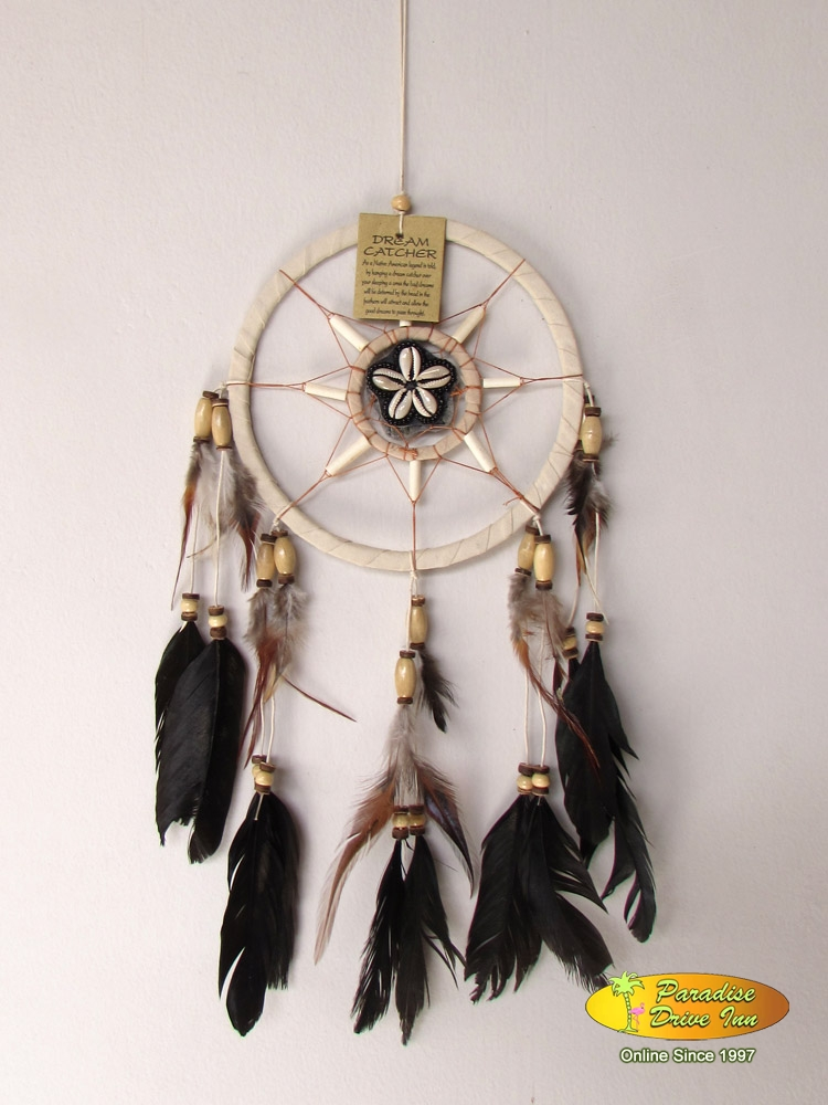 Bali Dreamcatcher, suede leather, beads, bone & shells