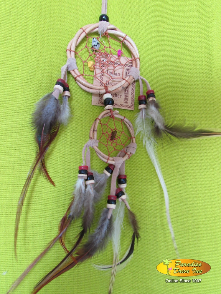Bali Dreamcatcher, rattan with beads & stone