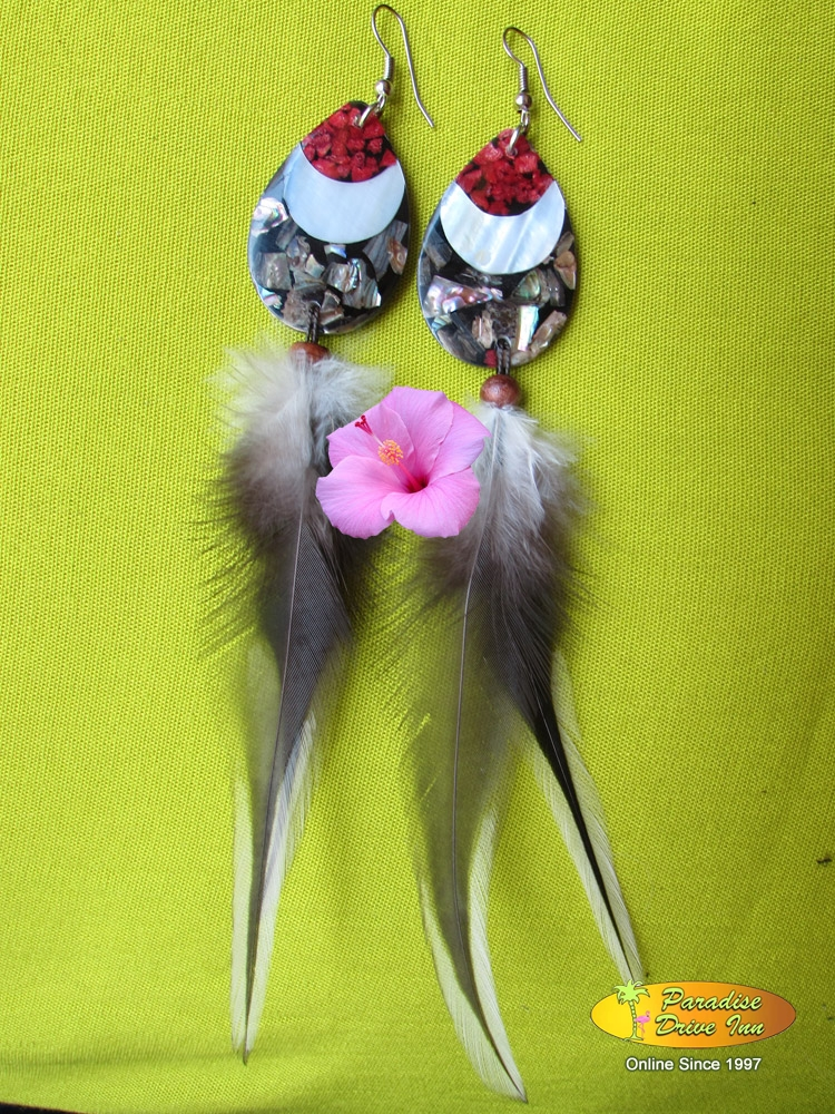 Bali Earring, shell, with feather