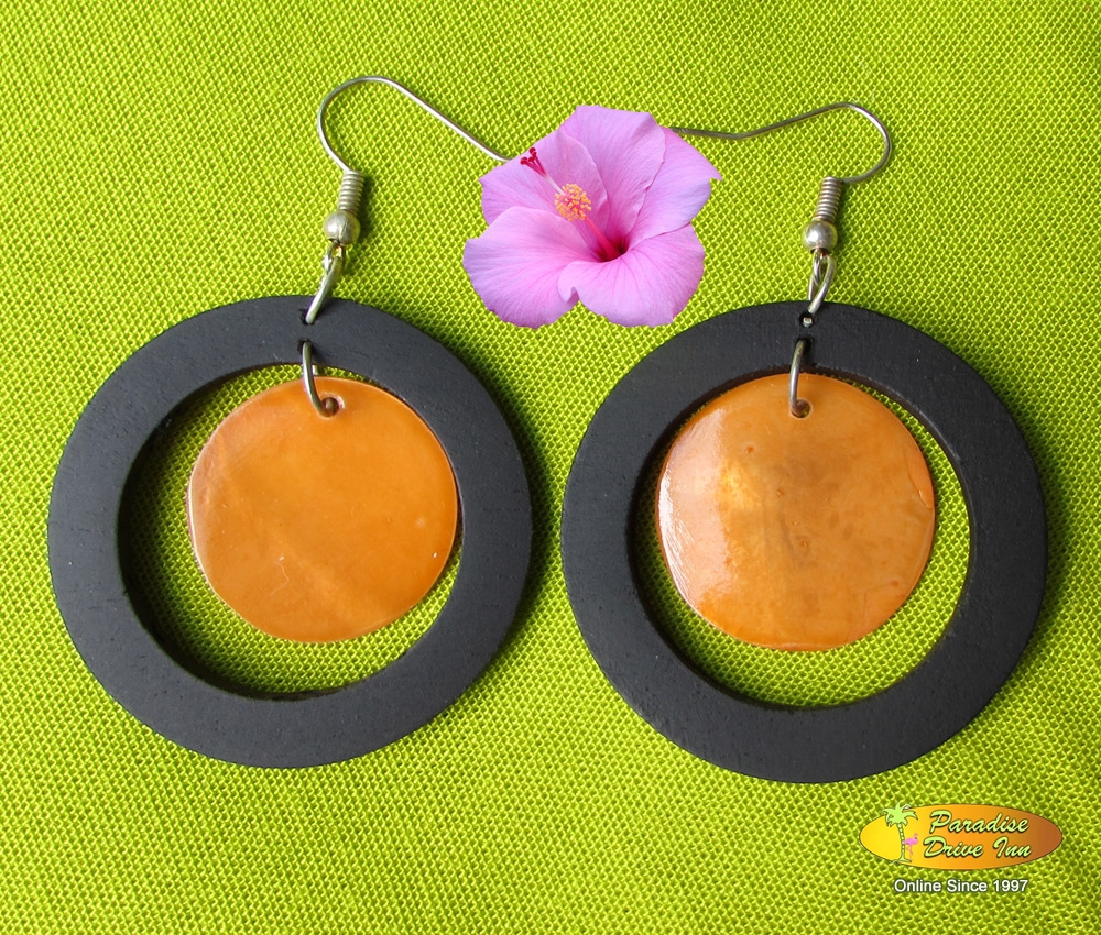 Bali Earring, wood with shell