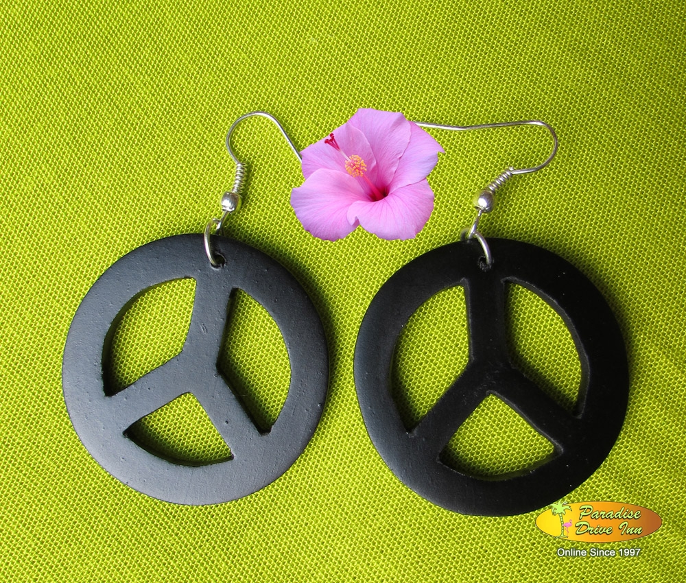 Bali Earring, wood, peace symbol