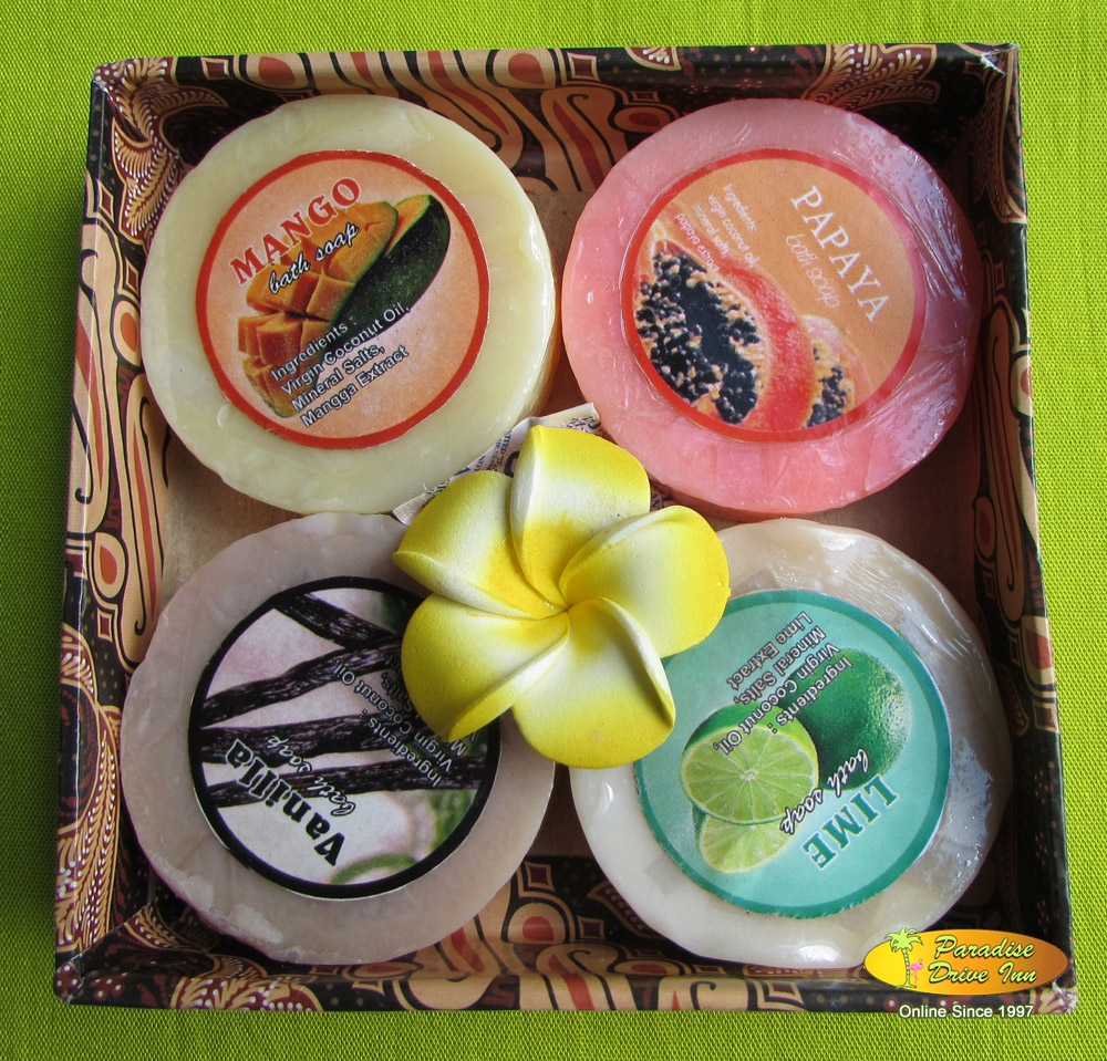 Bali Spa accesories, 4 natural soaps