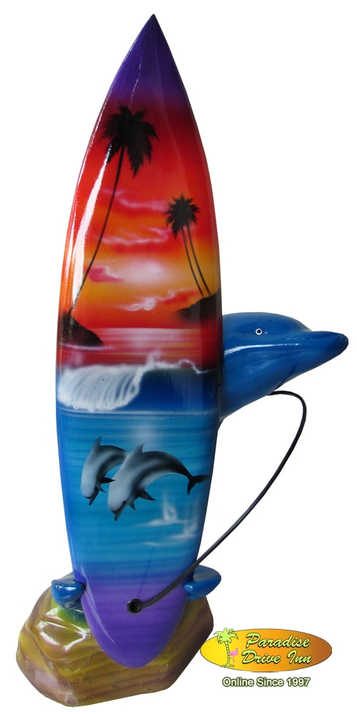 Bali Minisurfboard on dolphin resin stand
