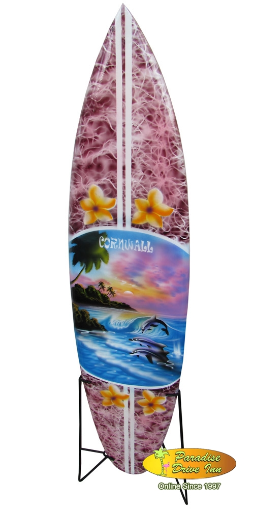 Bali Minisurfboard, airbrushed, wood, with metal stand