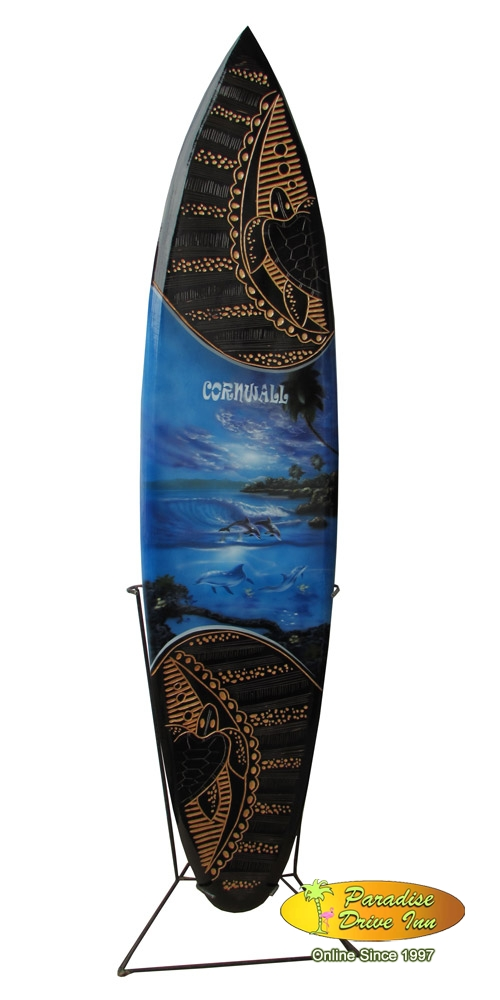 Bali Minisurfboard, wood carving & airbrushed with metal stand