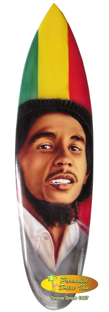 Bali Minisurfboard, airbrushed, Bob Marley motif with metal stand