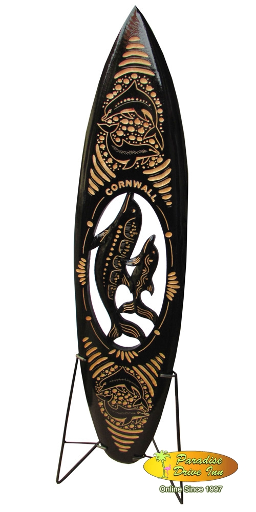 Bali Minisurfboard, wood carving, with metal stand