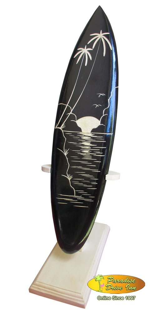 Bali Minisurfboard, handcarved with wooden stand
