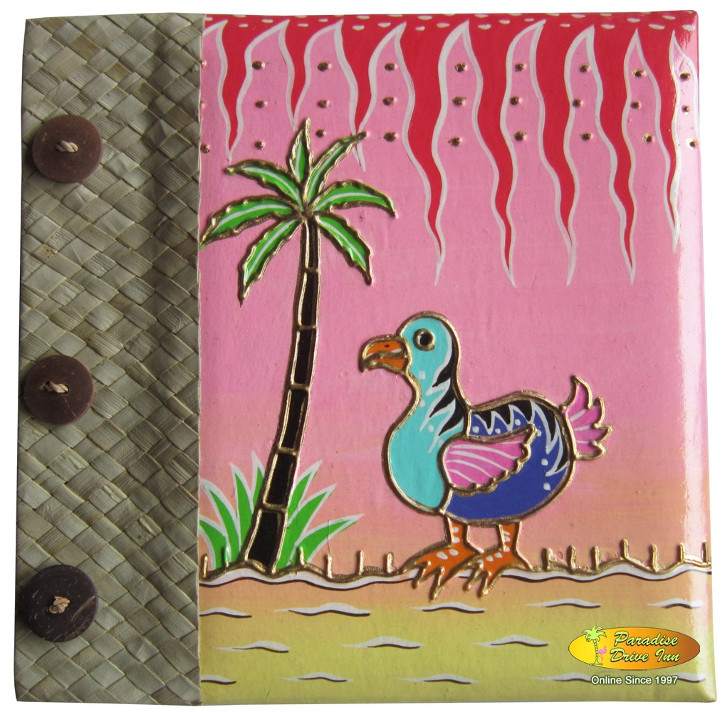 Bali Notebook, paper with pandan leaves, handpainting, funny duck
