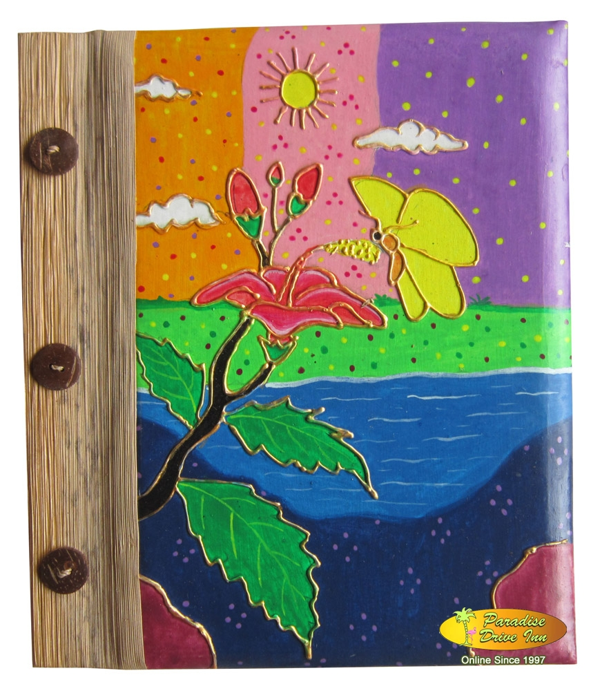 Bali Notebook, paper with pandan leaves, handpainting, tropical