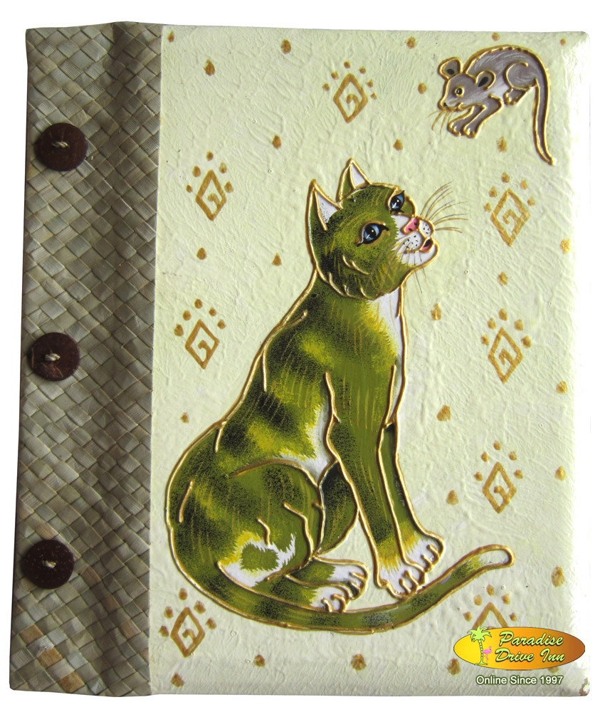 Bali Notebook, paper with pandan leaves, handpainting, cat