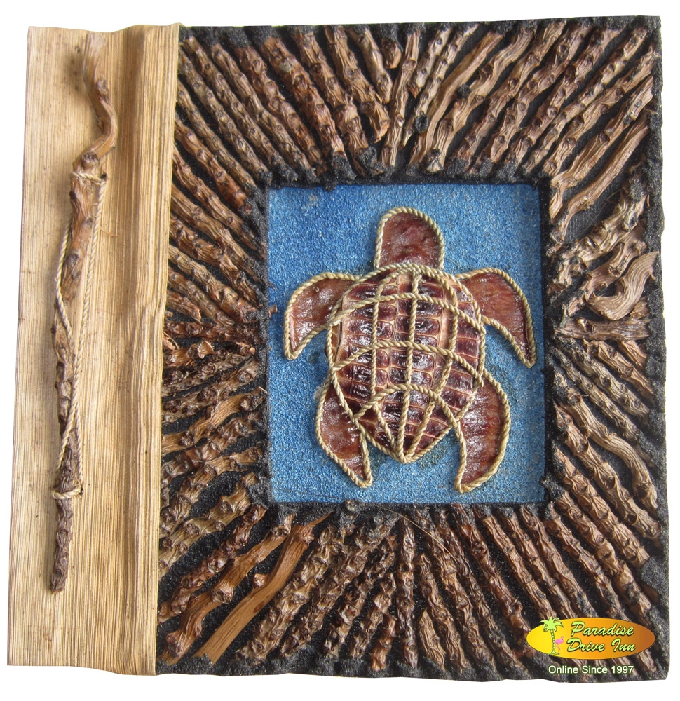 Bali Notebook, branches with sand, design with rope, turtle