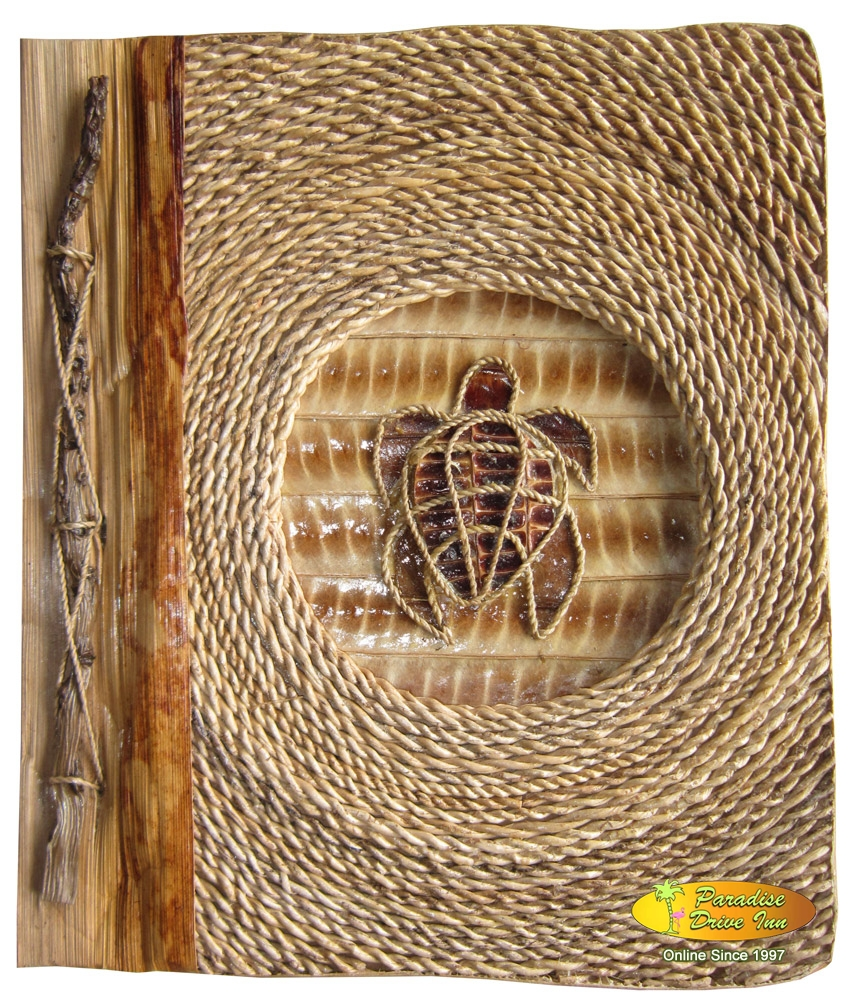 Bali Notebook, water hyacinth, design with rope, turtle