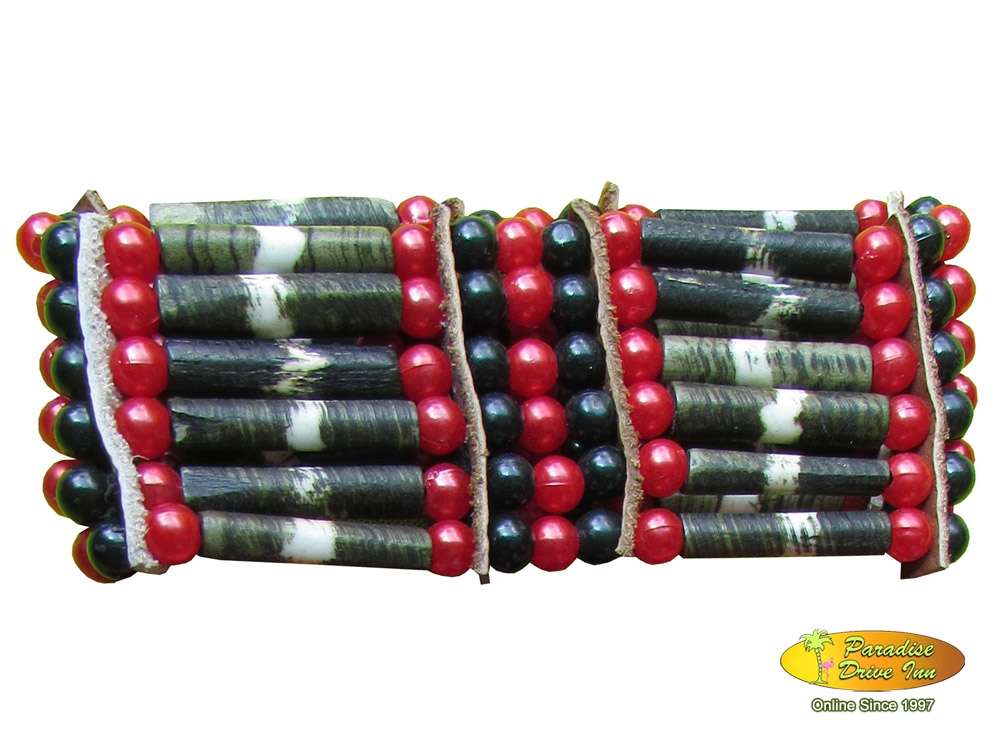 Bali Elastic bracelet, 5 lines bone with beads