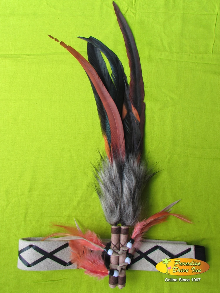Bali Headband, suede leather, feathers