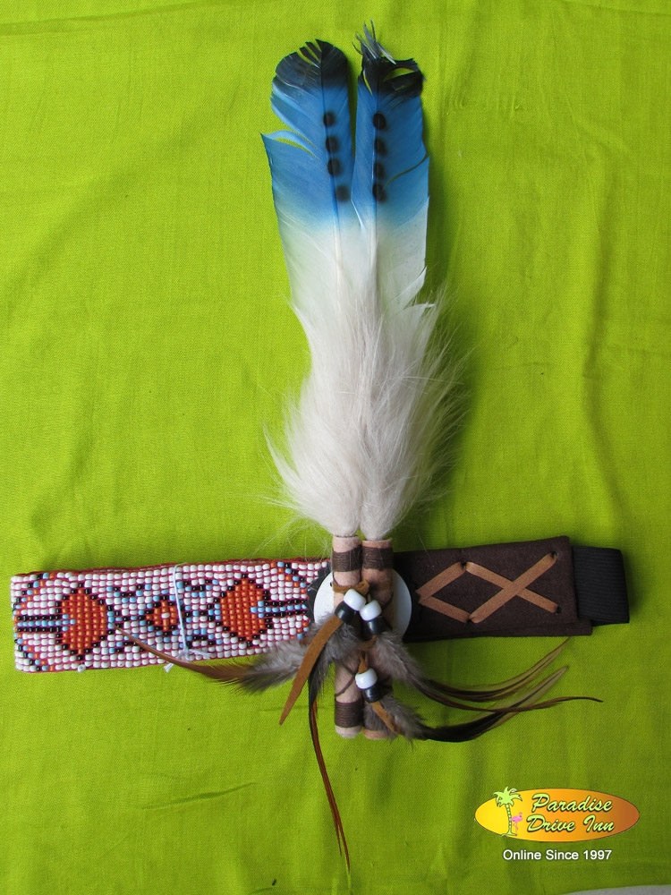 Bali Headband, suede leather, swan feather, bone & beads