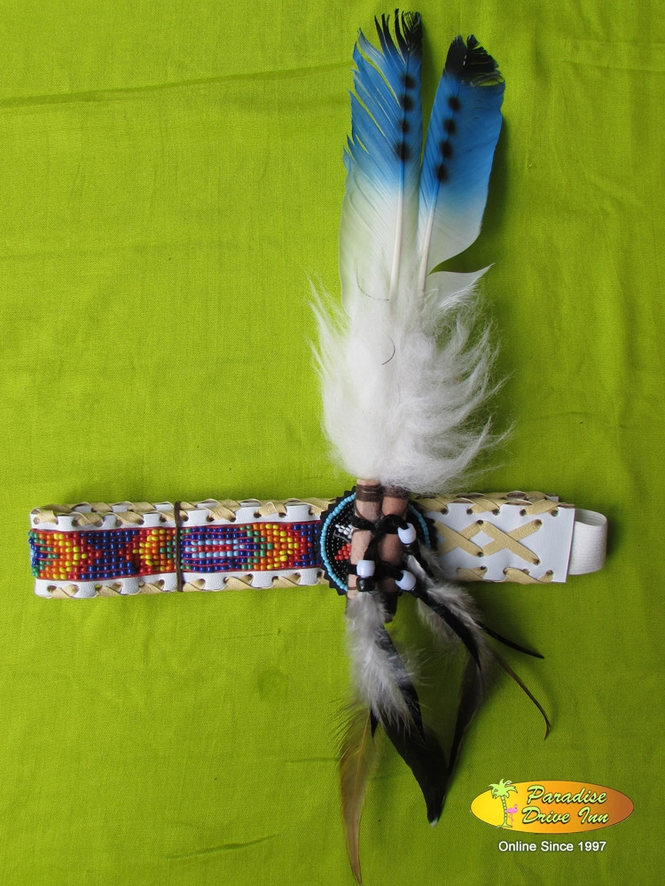 Bali Headband, suede leather, swan feather & beads