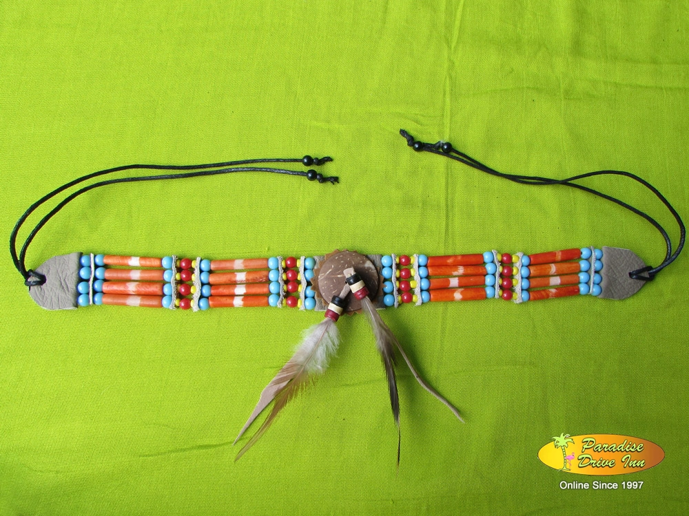 Bali Choker, 4 lines bone, feather & beads
