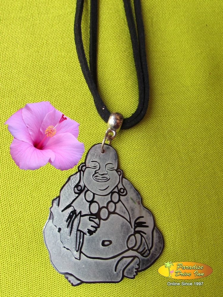 Bali Shell carved necklace, happy buddha