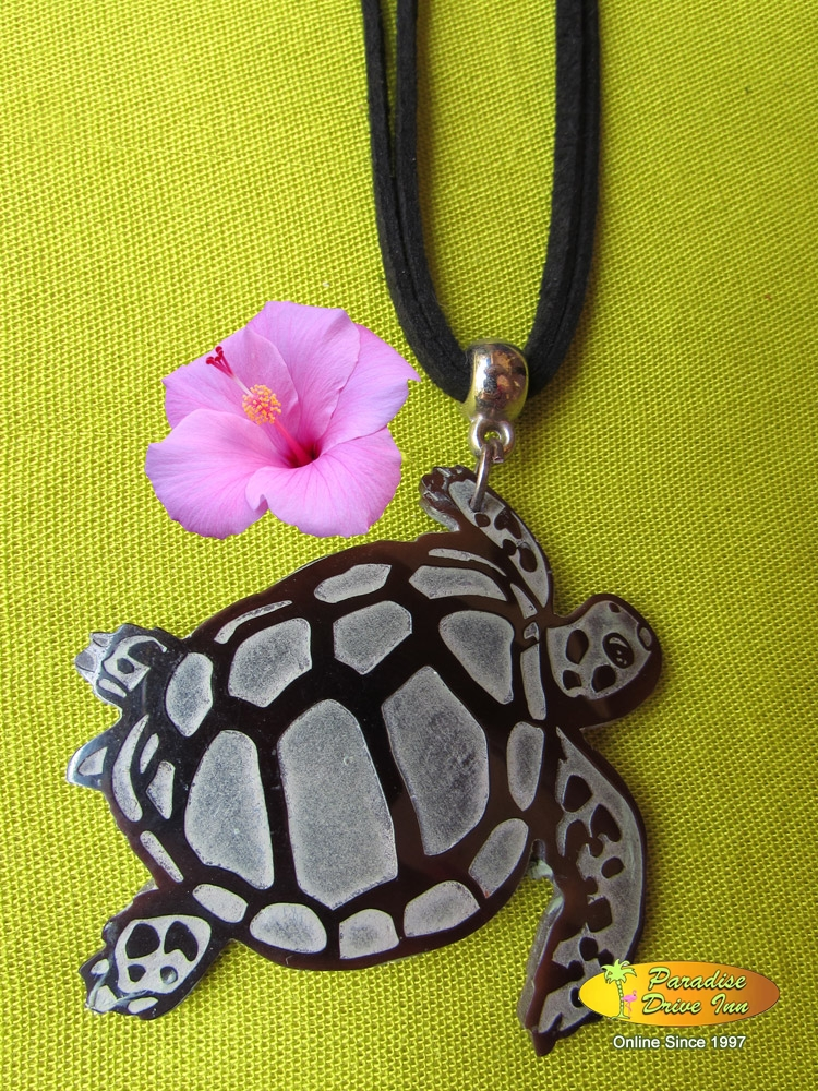 Bali Shell carved necklace, turtle