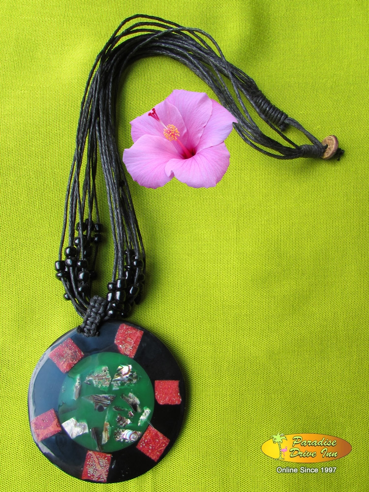 Bali Shell inlaid necklace with beads