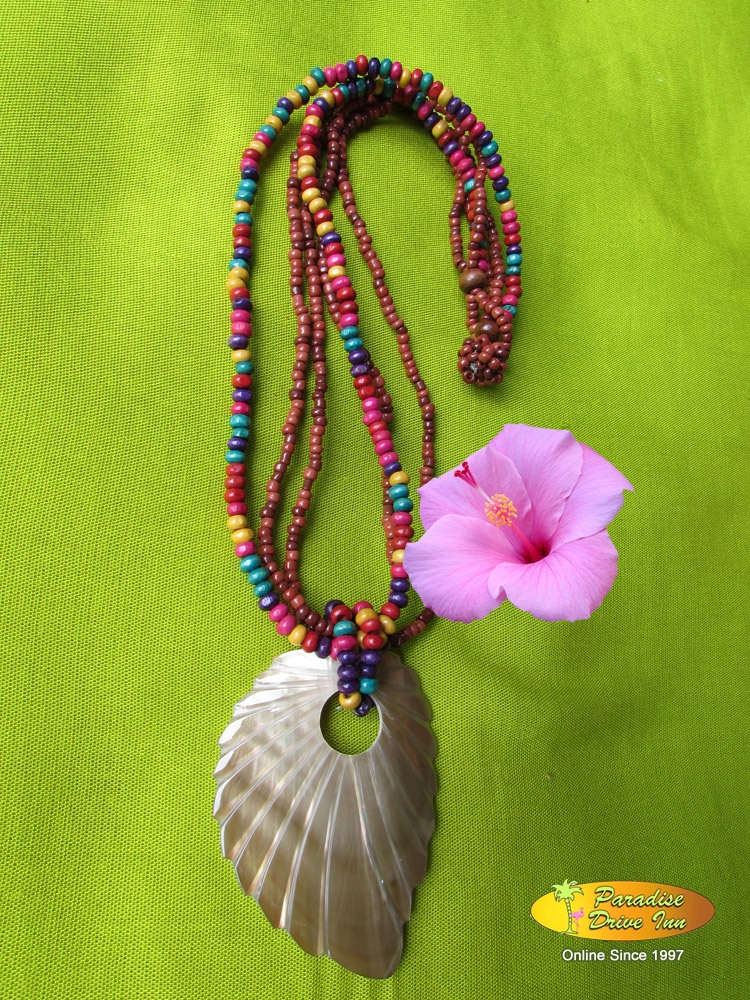 Bali Shell carved necklace with beads