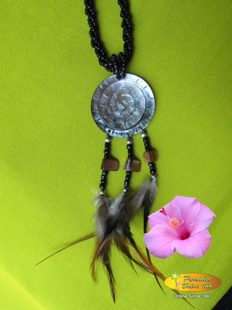 Bali Shell carved neklace with beads & feather