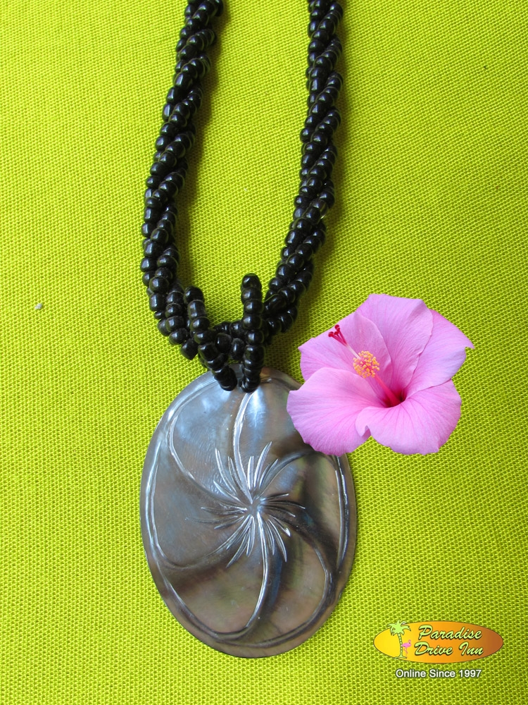 Bali Shell carved neklace with beads